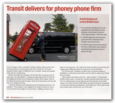 Article - Transit delivers, with picture of the Transit van and Andrew Peters with a Phoney Box on a sack truck