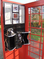 Telephone box interior with A/B Coinbox Unit installed